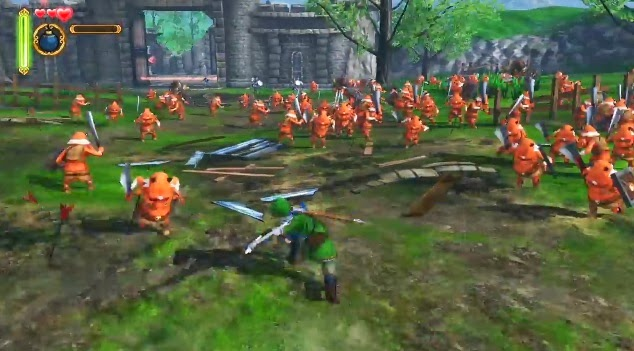 Image of Link fighting waves of enemies in Hyrule Warriors, a crossover between The Legend of Zelda and Dynasty Warriors