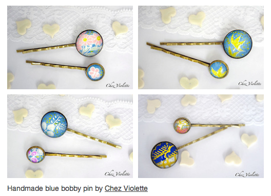 blue bobby hair pin by chez violette