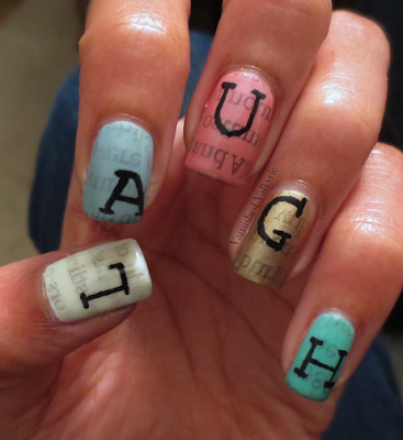 Inspired by thankfulness - Newspaper Nails by Kas of Varnished Valkyrie