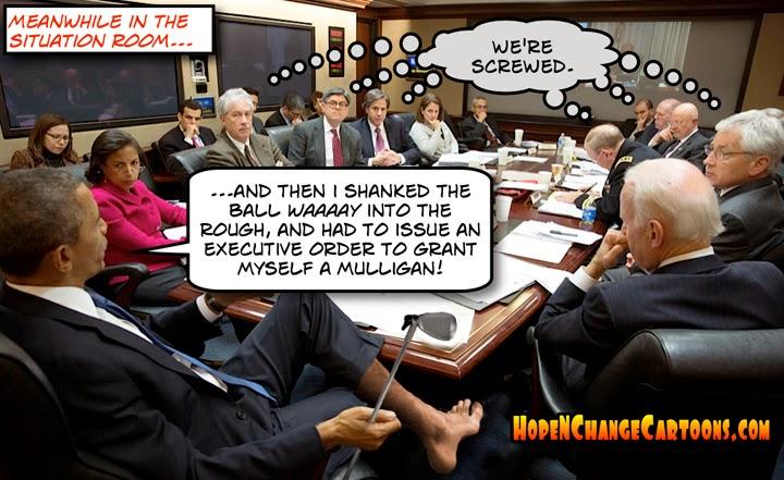 obama, obama jokes, golf, hope n' change, hope and change, russia, ukraine, situation room, vacation, benghazi, stilton jarlsberg