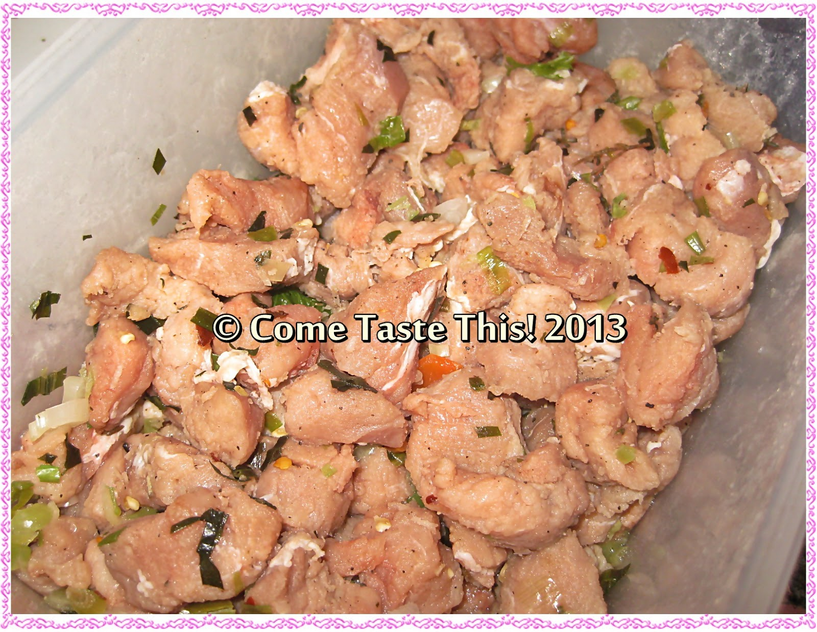 Come taste this back on the blog with spicy geera pork first things first i always season my pork i used a nice pork loin that i cut into 1 inch pieces and seasoned with lime juice salt chopped chives forumfinder Images