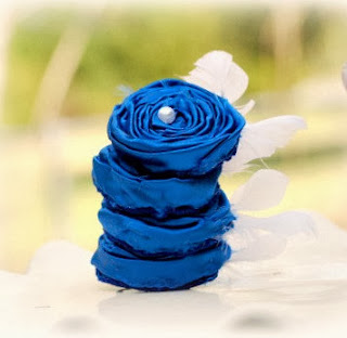 Royal Blue Cobalt White Feathers Rosette Clip Pin by Sofisticata