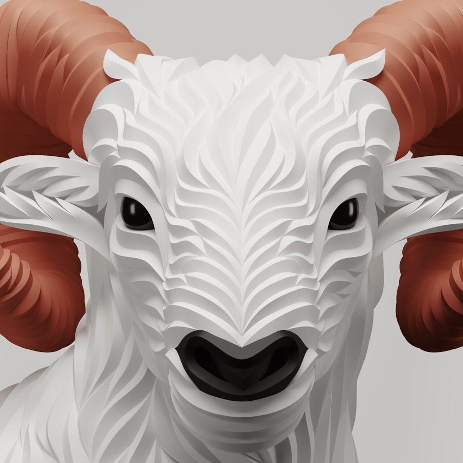 13-Ram-Maxim-Shkret-Digital-Origami-Animal-Art-www-designstack-co