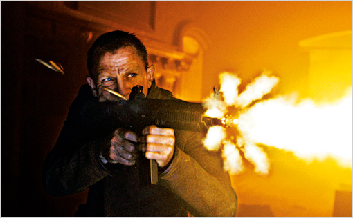 Daniel Craig as James Bond firing a gun in Skyfall movieloversreviews.blogspot.com