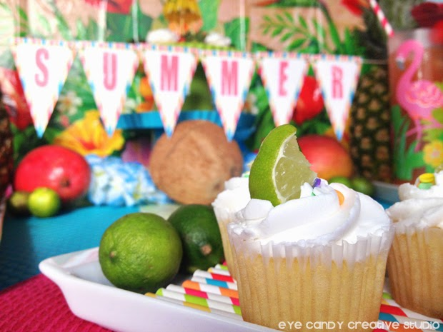 FREE summer banner, mini lime cupcakes, summer luau tips, summer