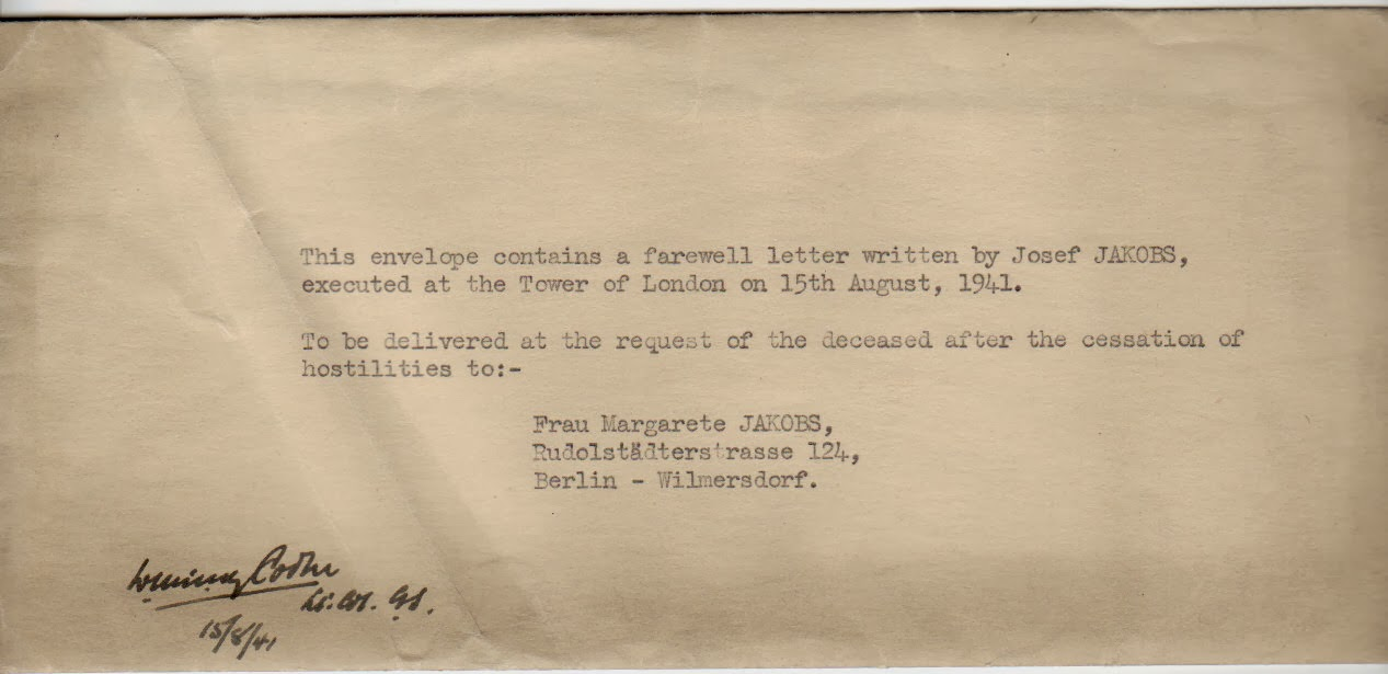 Envelope that contained the final letter of Josef Jakobs (obverse).