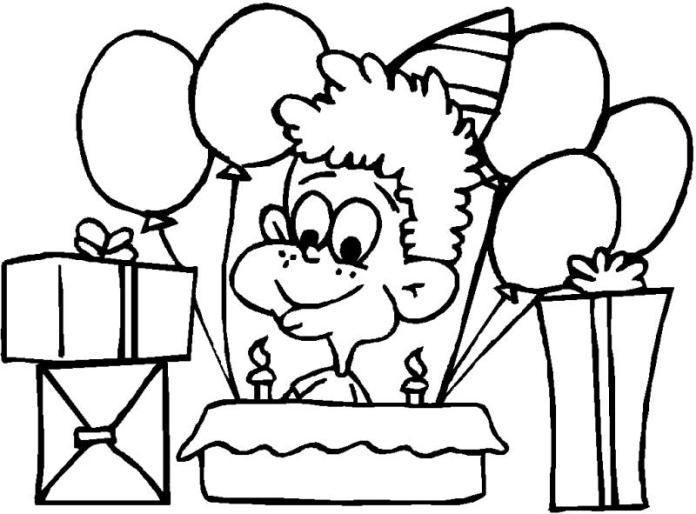 coloring pages for kids - Feliz Cumpleanos Coloring Pages