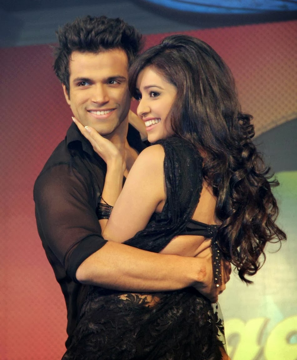 Asha and Rithvic together in a pose at Nach Baliye, dance reality show