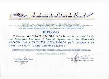 Diploma Amigo da Cultura Literaria - Da Academia de Letras do Brasil - ALBSC...