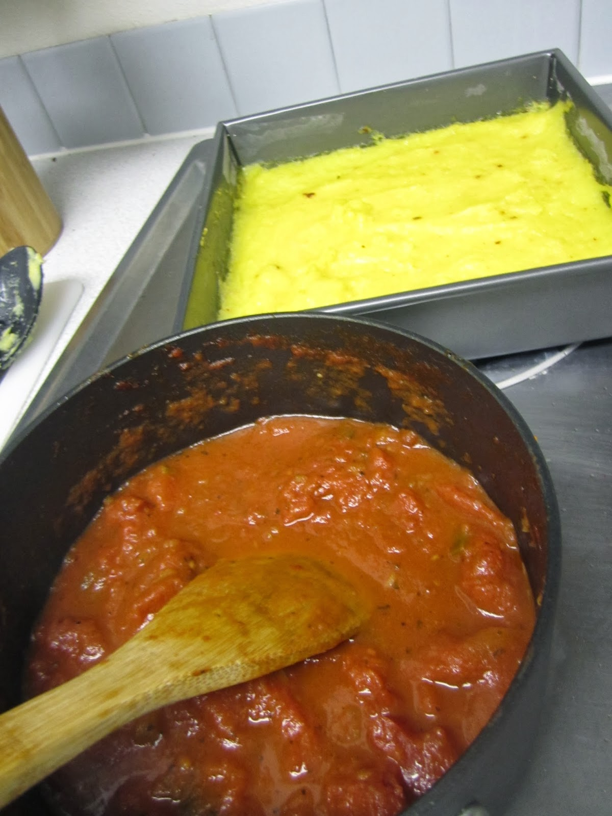 Spangles: Baked Polenta with Tomato and Basil