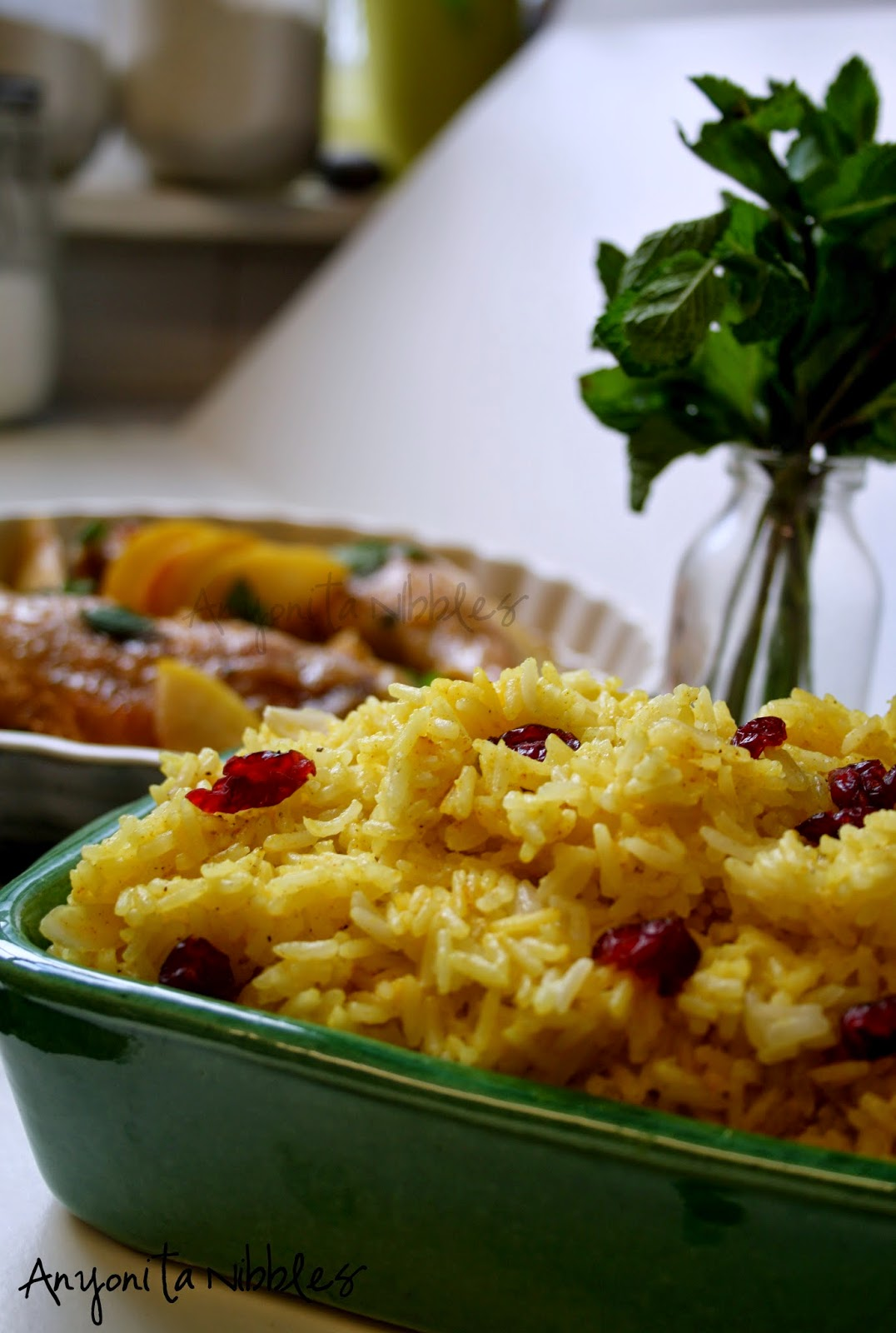Turmeric rice with jewels of dried cranberries and flaked almonds | Anyonita Nibbles
