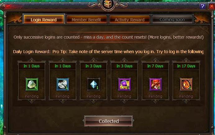 MMORPG Daily Log in Rewards