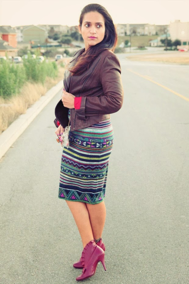 Moto Leather Jacket, Midi Dress, Booties, Embellished clutch, Tanvii.com