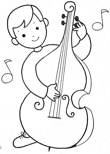 Niños con instrumentos musicales para colorear