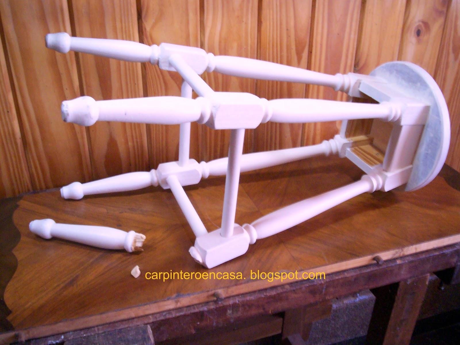 Carpintero en casa como reparar una pata de banco - Reparar madera ...
