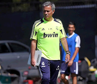 Mourinho with his Tactical Board training Real Madrid