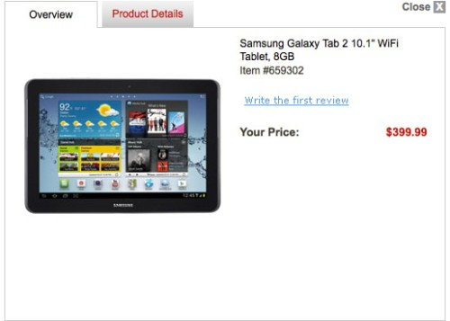 Prezzo del Tablet Galaxy Tab 2 10.1