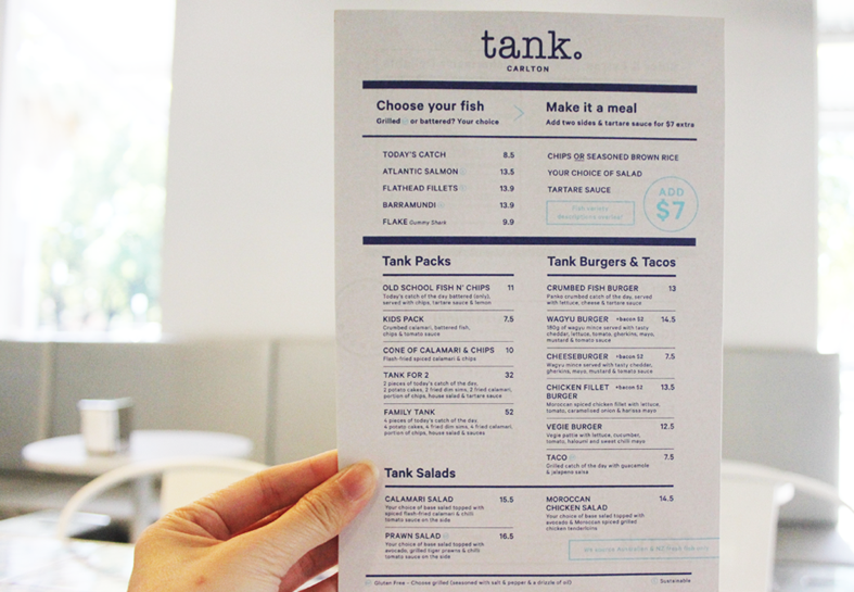 Tank Fish & Chippery menu (Carlton, Melbourne)