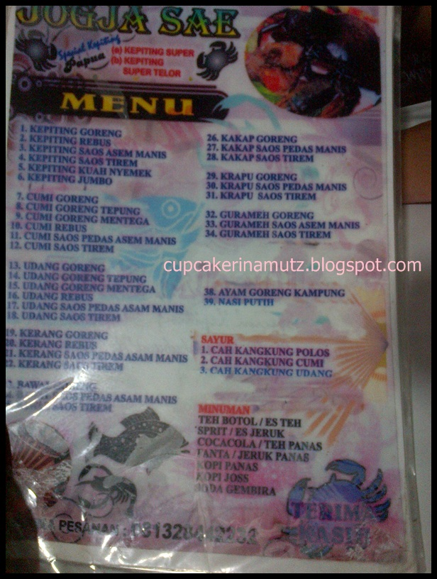 Kuliner jogja seafood jogja sae rina chabbymutz for Z kitchen jogja menu