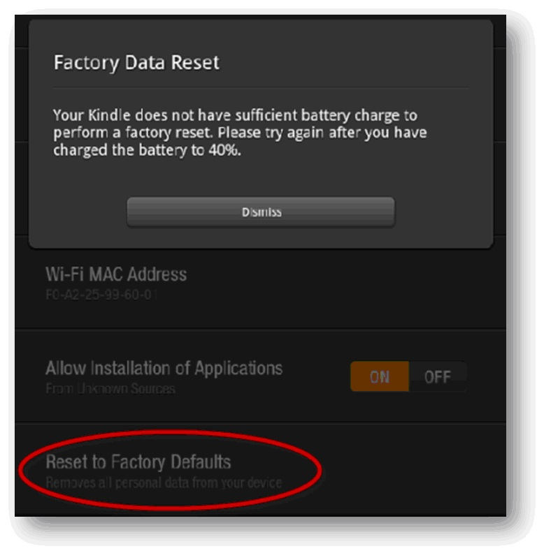 Reset your Kindle Fire