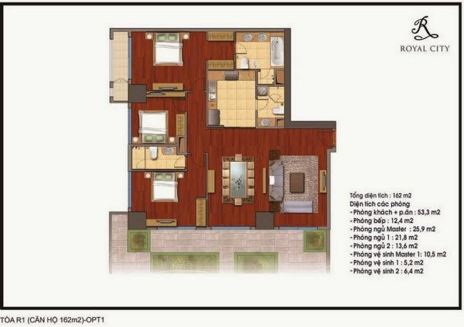 Mặt bằng căn hộ 162m2 tòa R1 Royal City