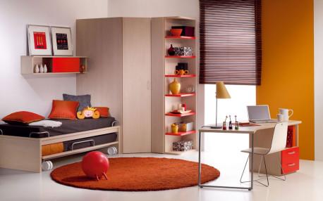 Penampilan Menarik Kamar Tidur Warna Coklat Dengan Sentuhan Aksen Oranye