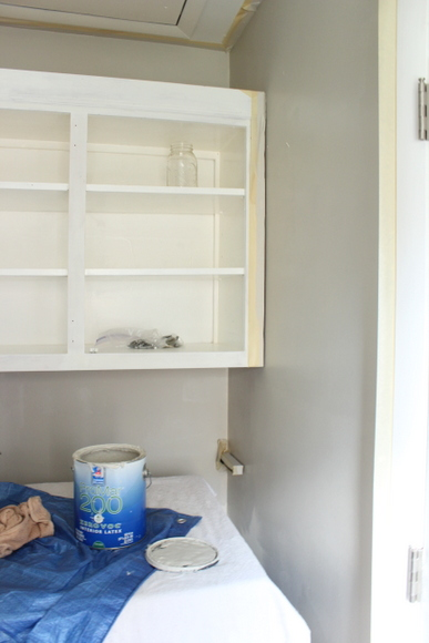 We decided to repaint the laundry room while updating the cabinets
