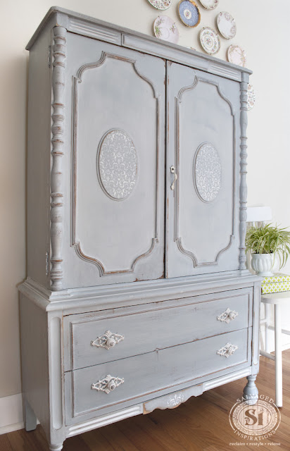 refinished armoire, painted armoire, shabby chic, grey armoire, link party, furniture makeover, how to use chalk paint, #fridaysfurniturefix, fridays furniture fix