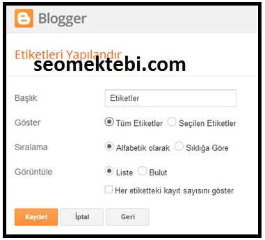 Blogger CSS Etiketler Yapma