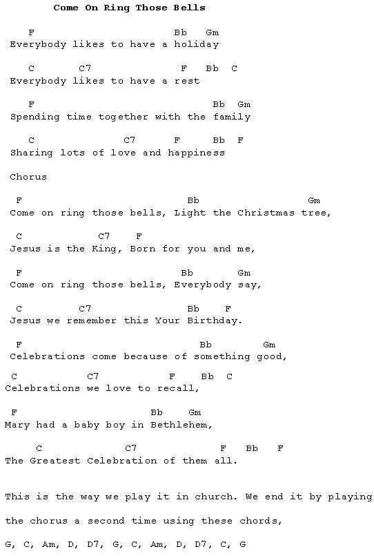 Come On Ring Those Bells Lyrics And Chords