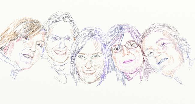 Retrato dibujado con lápices de colores