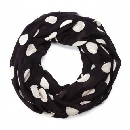 Black with white polka dot infinity scarf