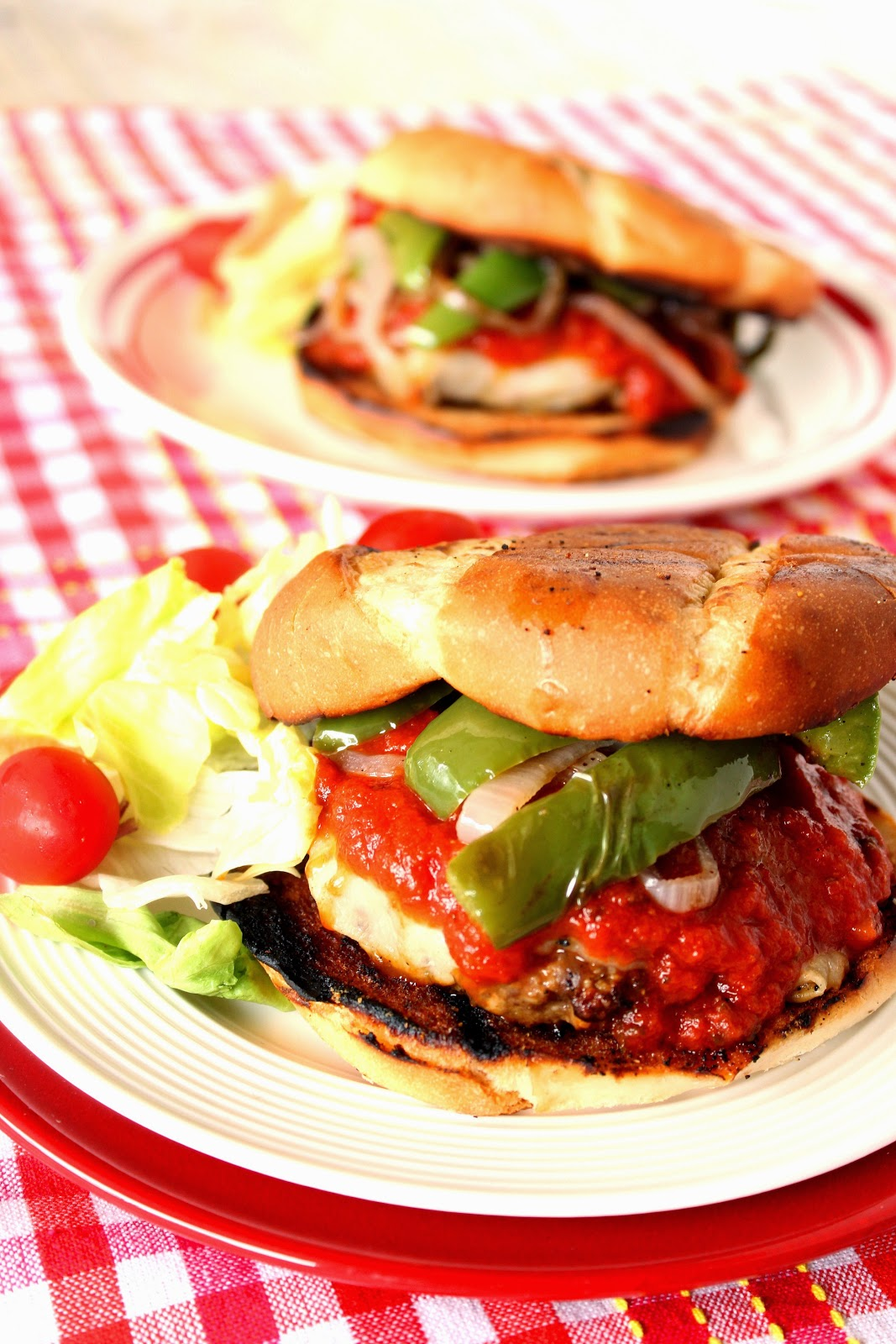 Italian Sausage Pizza Burger Recipe via Kudos Kitchen by Renee