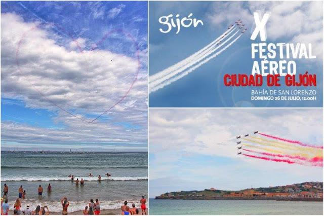 X Festival Aereo de Gijon 2015 – Corazon en el Cielo y Patrulla Aguila sobre la Playa de San Lorenzo