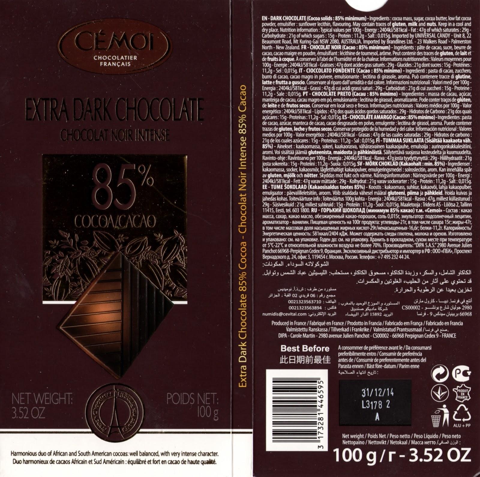 tablette de chocolat noir dégustation cémoi chocolat noir intense 85