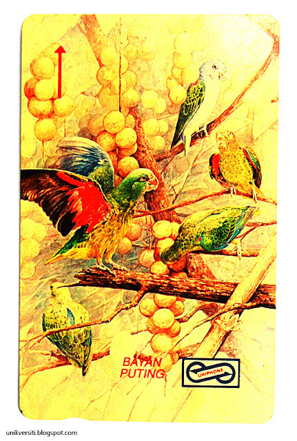 kad telefon awam Malaysia - lukisan Jaafar Taib, burung bayan puting