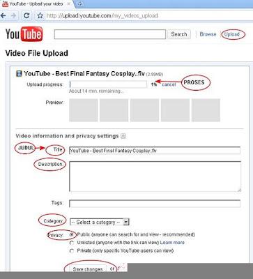 langkah-langkah cara upload video ke youtube pakai gambar