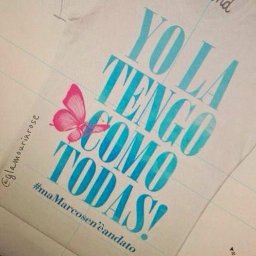 """Camiseta con la frase de Laura Pausini tras enseñar su pubis, """"Ma Marco se n'e andato"""""""