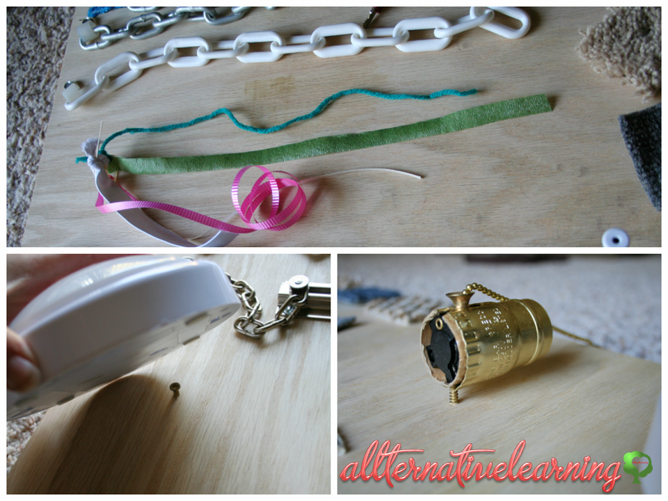 Close up of pull chain, light attachement, and other parts of sensory latch board |ALLterNATIVElearning.com