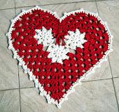 Tapete Coração Vermelho e Branco