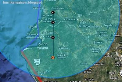 JOVA bei Puerto Vallarta ist kein Hurrikan mehr, Jova, aktuell, Verlauf, Puerto Vallarta, Nayarit, Jalisco, Sturmwarnung, Oktober, 2011, Hurrikansaison 2011,