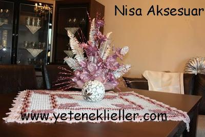 çivili kasnak tutkal işi masa örtüsü