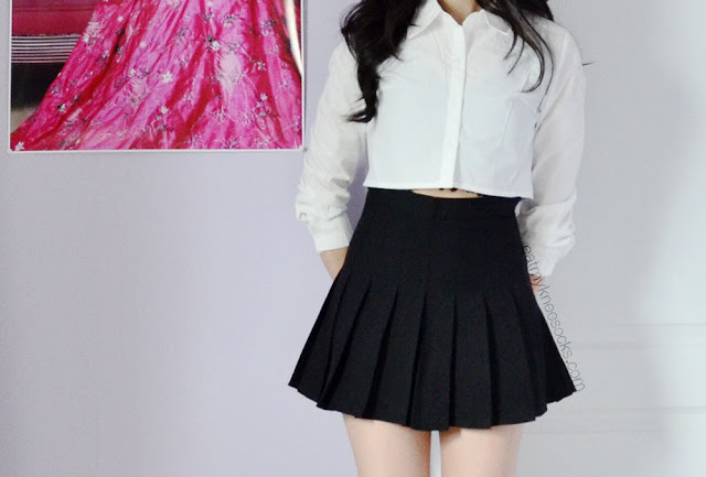 More photos of the SheInside/SheIn cropped button-down shirt and black pleated tennis skirt.