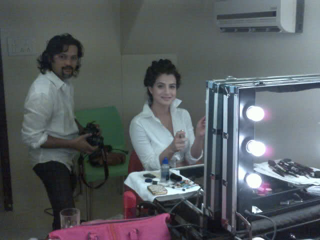 1 - Ameesha Patel Make-up room Pics
