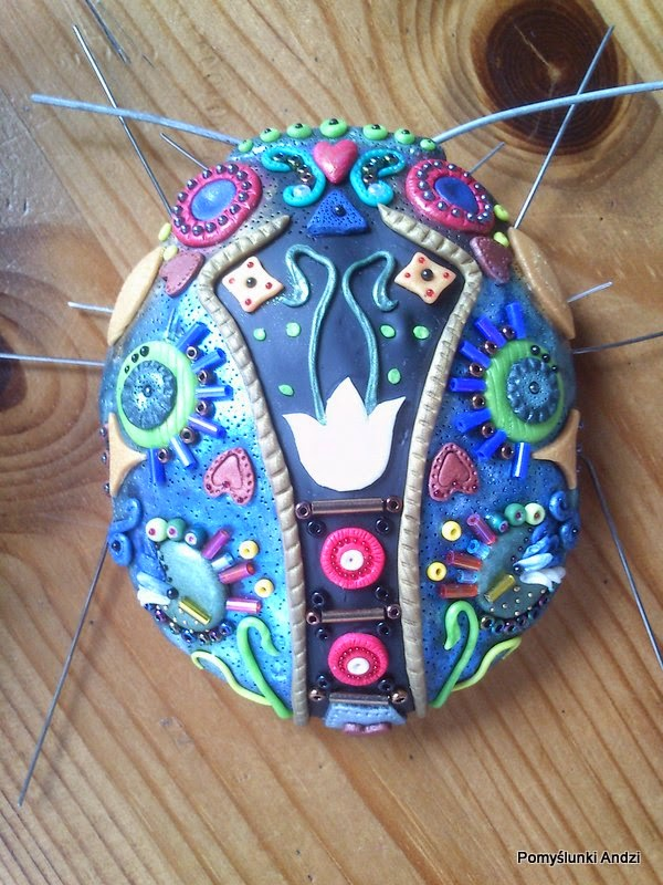 in progress, beetle, folk, polymer clay, fimo, premo,