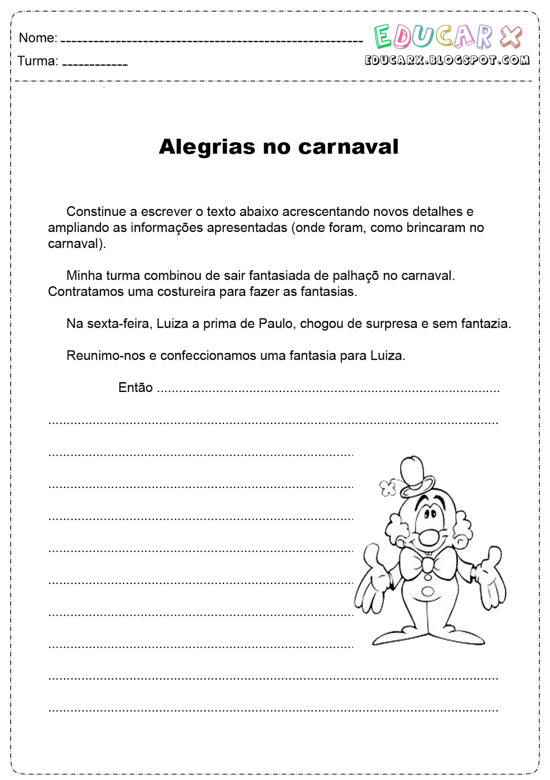 atividades infantil texto sobre o carnaval