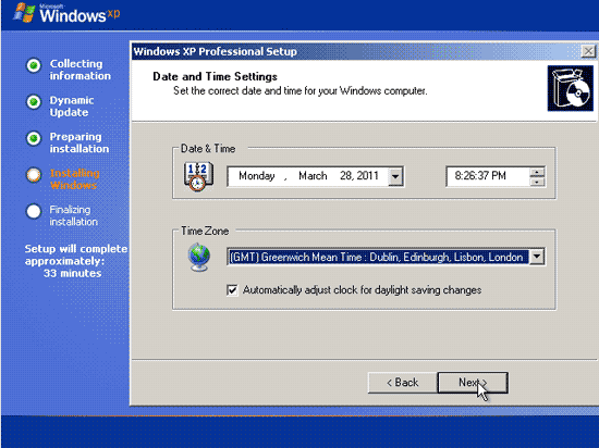 Pengaturan waktu pada proses install