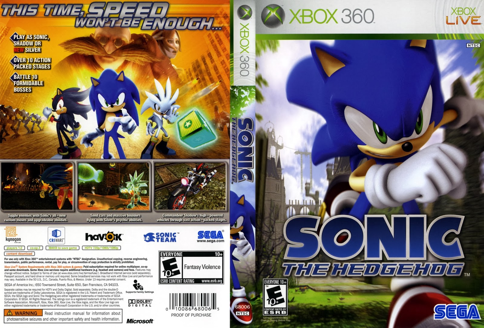 Capa Sonic The Hedgehog XBOX 360
