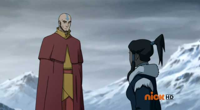 korra - the first meet with aang
