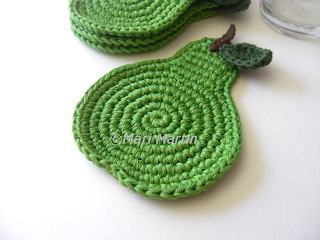 Crochet Coasters Green Pear